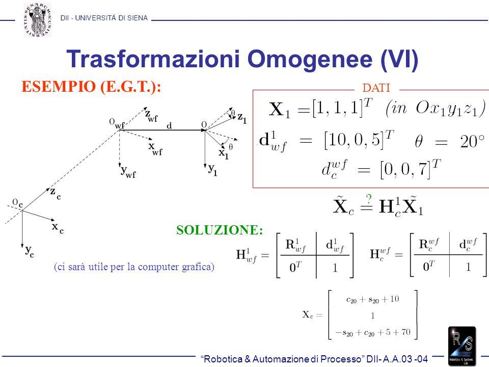 Trasformazioni Omogenee (VI)