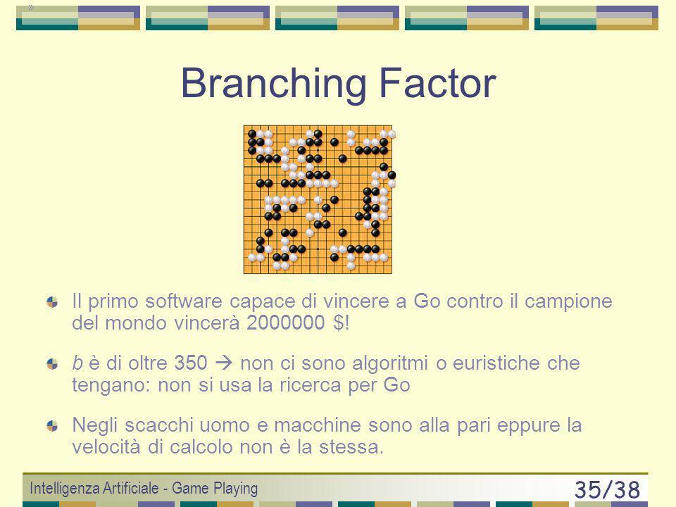 Branching Factor Il primo software capace di vincere a Go contro il campione del mondo vincerà 2000000 $!