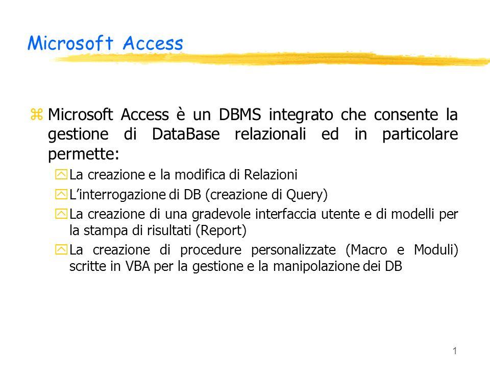 Microsoft Access Microsoft Access è un DBMS integrato che consente la gestione di DataBase relazionali ed in particolare permette: