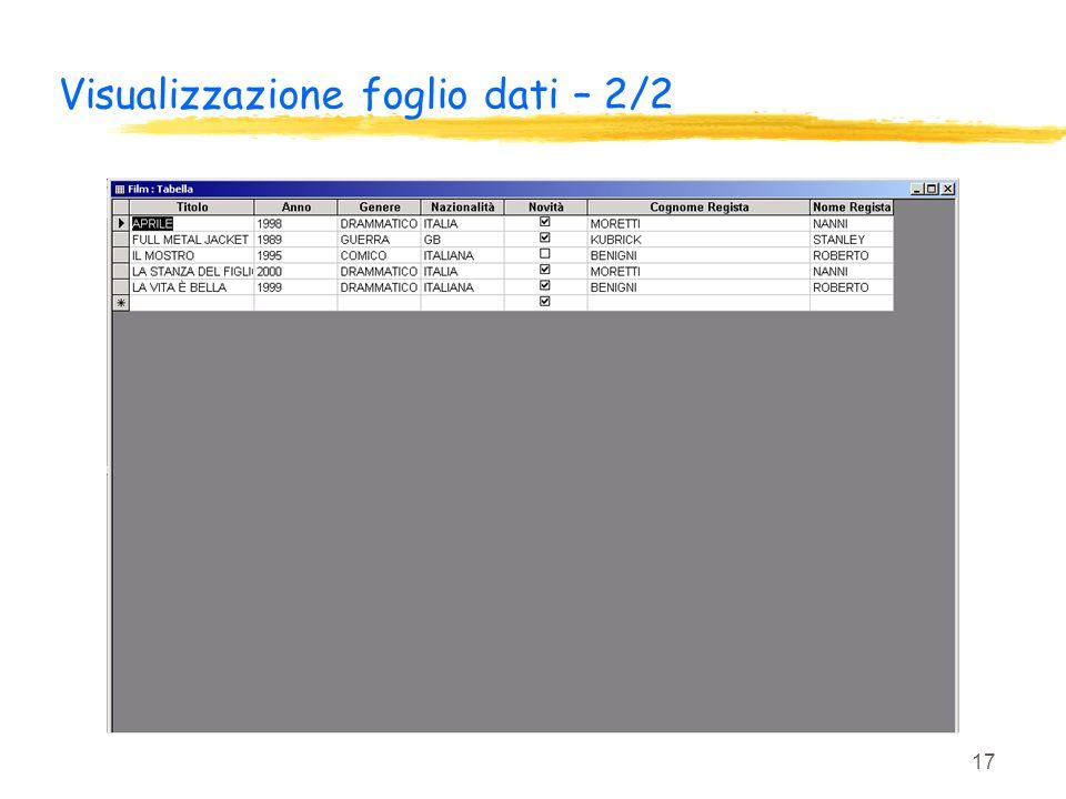 Visualizzazione foglio dati – 2/2
