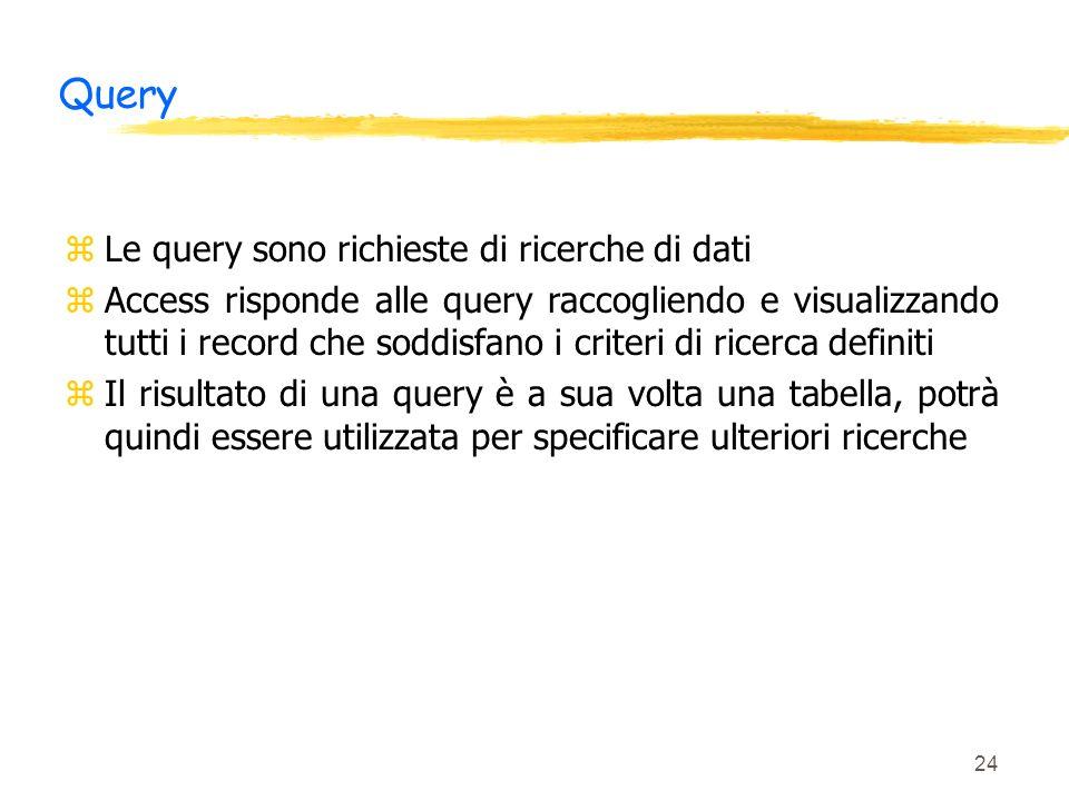 Query Le query sono richieste di ricerche di dati