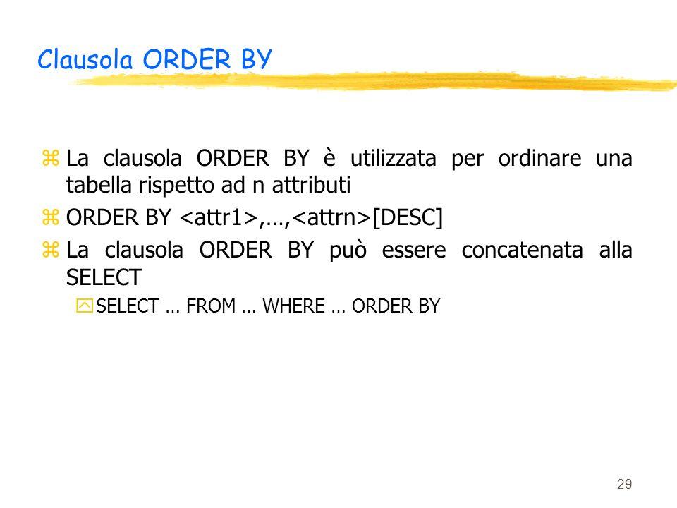 Clausola ORDER BY La clausola ORDER BY è utilizzata per ordinare una tabella rispetto ad n attributi.