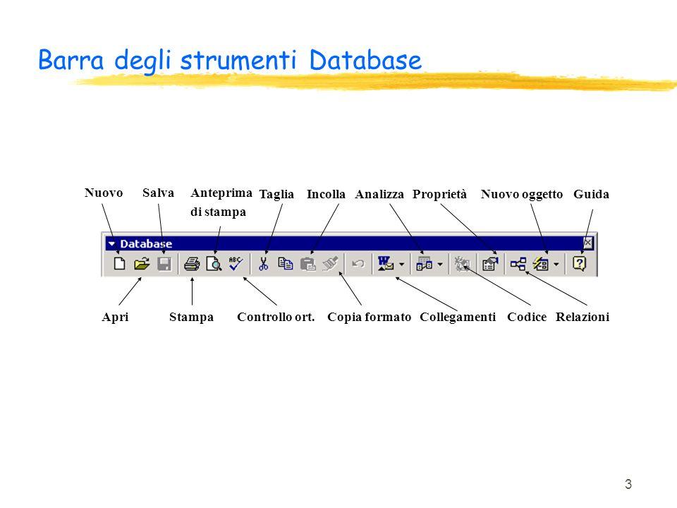 Barra degli strumenti Database