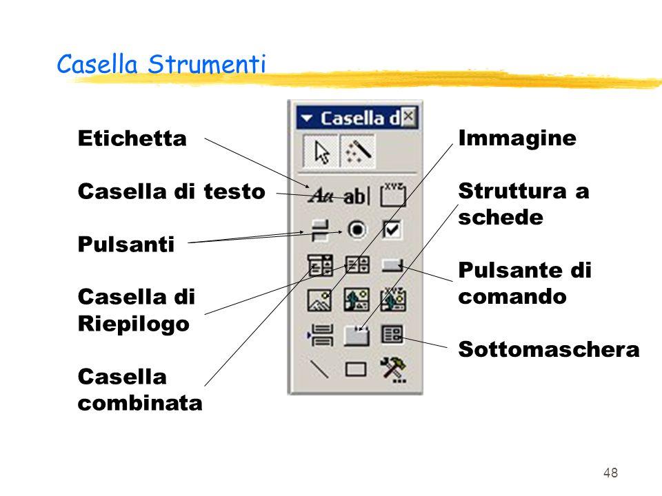 Casella Strumenti Etichetta Casella di testo Pulsanti Casella di