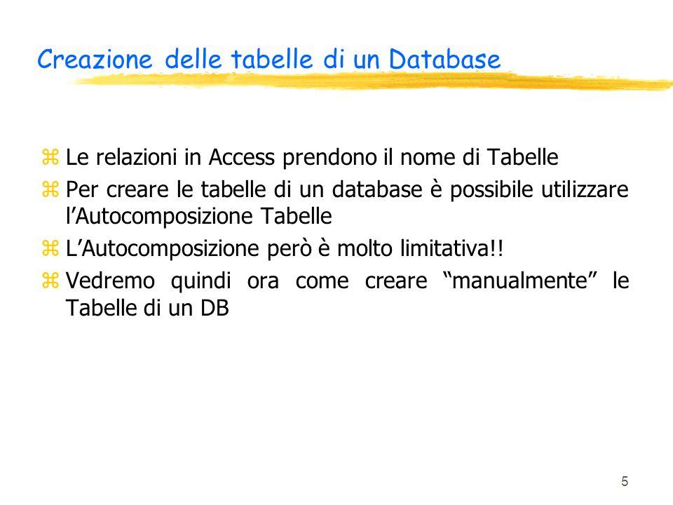 Creazione delle tabelle di un Database