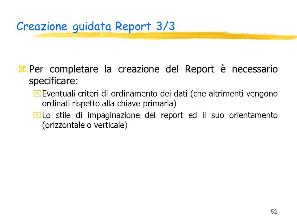 Creazione guidata Report 3/3