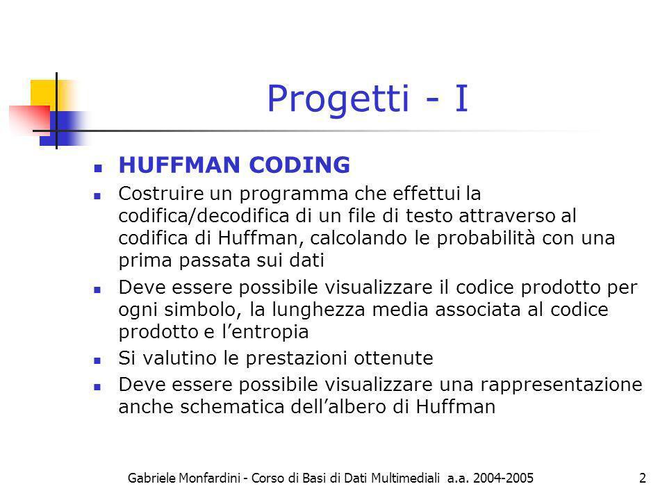 Progetti - I HUFFMAN CODING
