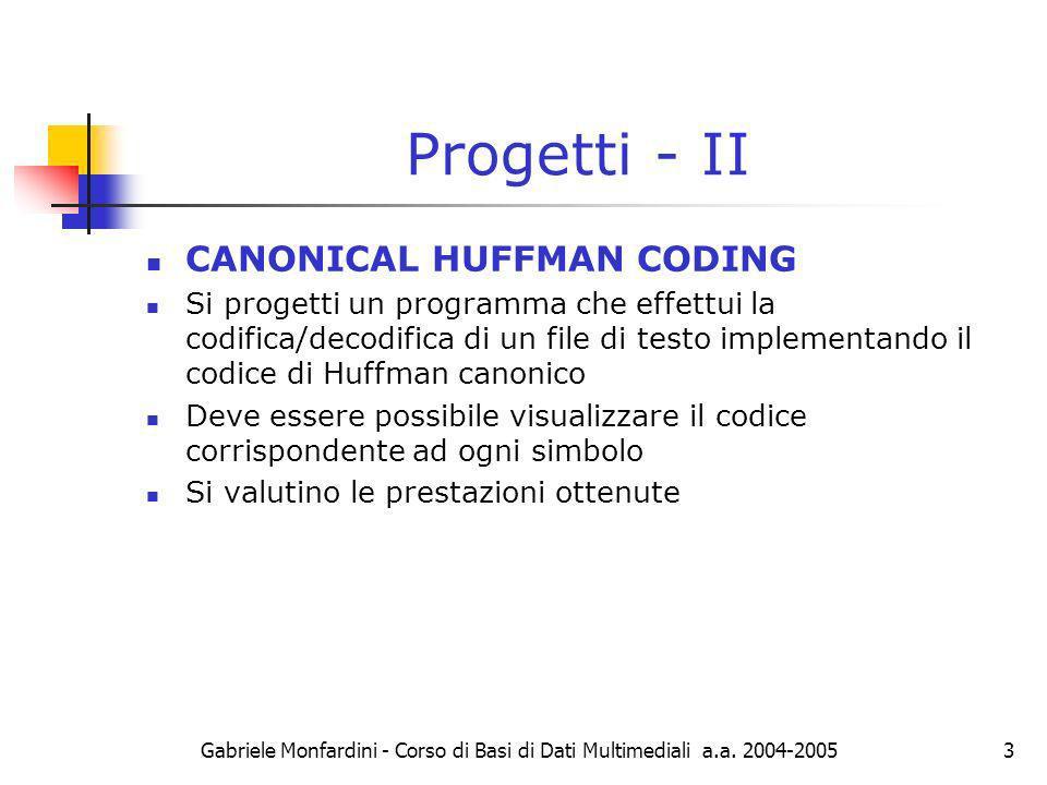 Progetti - II CANONICAL HUFFMAN CODING