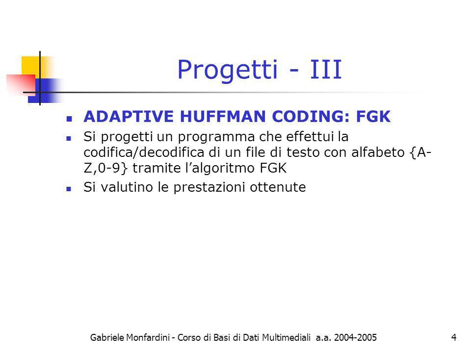 Progetti - III ADAPTIVE HUFFMAN CODING: FGK
