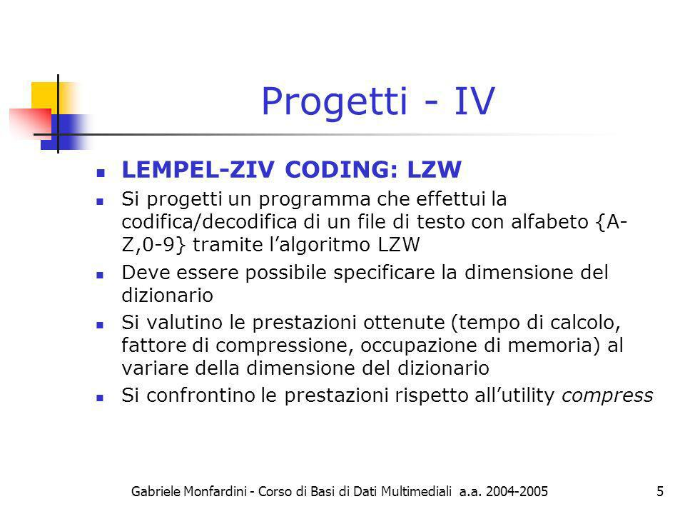 Progetti - IV LEMPEL-ZIV CODING: LZW