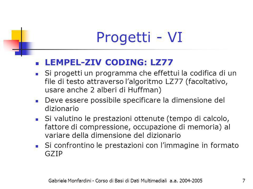 Progetti - VI LEMPEL-ZIV CODING: LZ77
