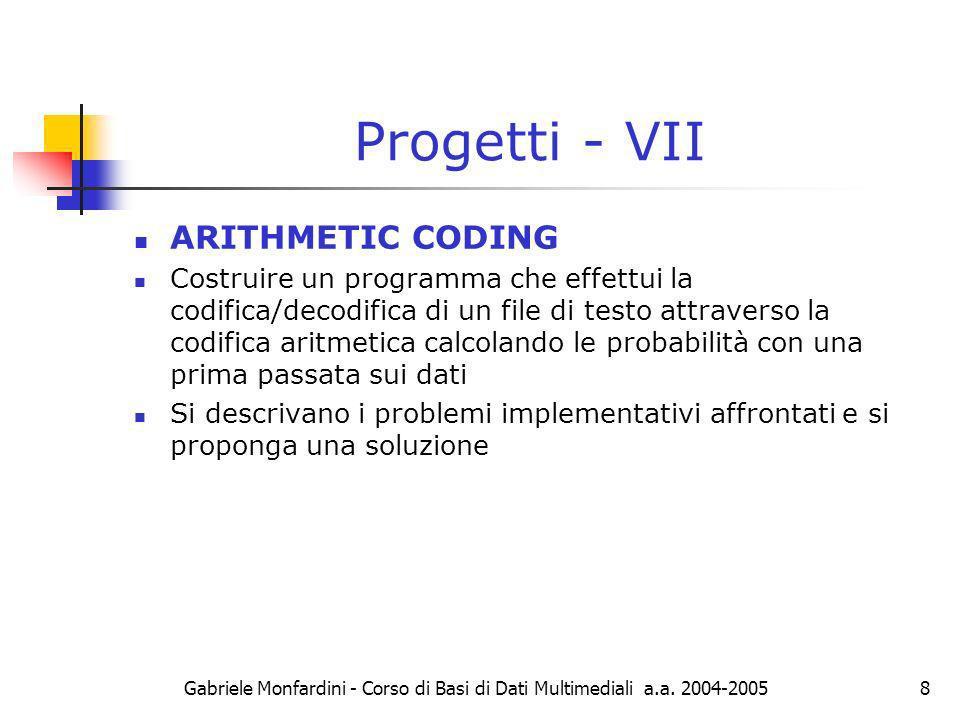 Progetti - VII ARITHMETIC CODING