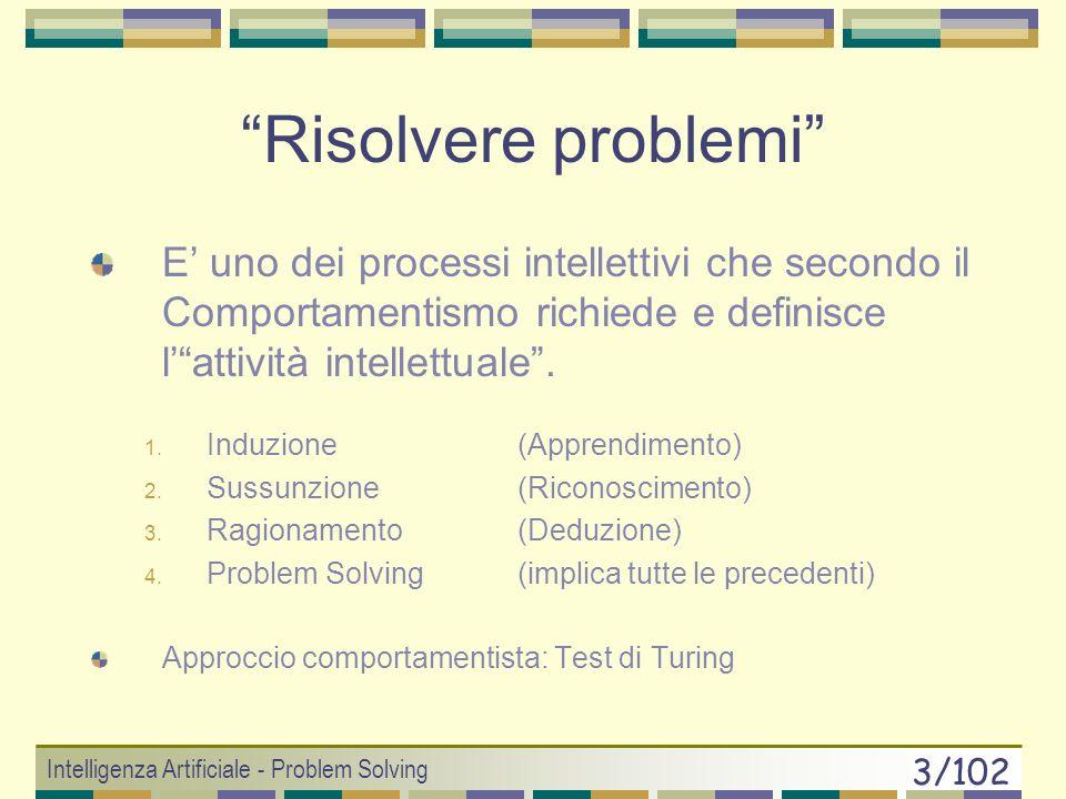 Risolvere problemi E' uno dei processi intellettivi che secondo il Comportamentismo richiede e definisce l' attività intellettuale .
