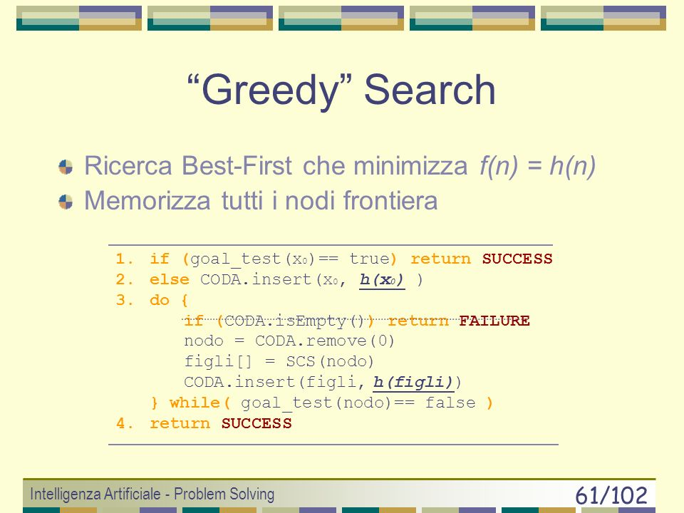 Greedy Search Ricerca Best-First che minimizza f(n) = h(n)