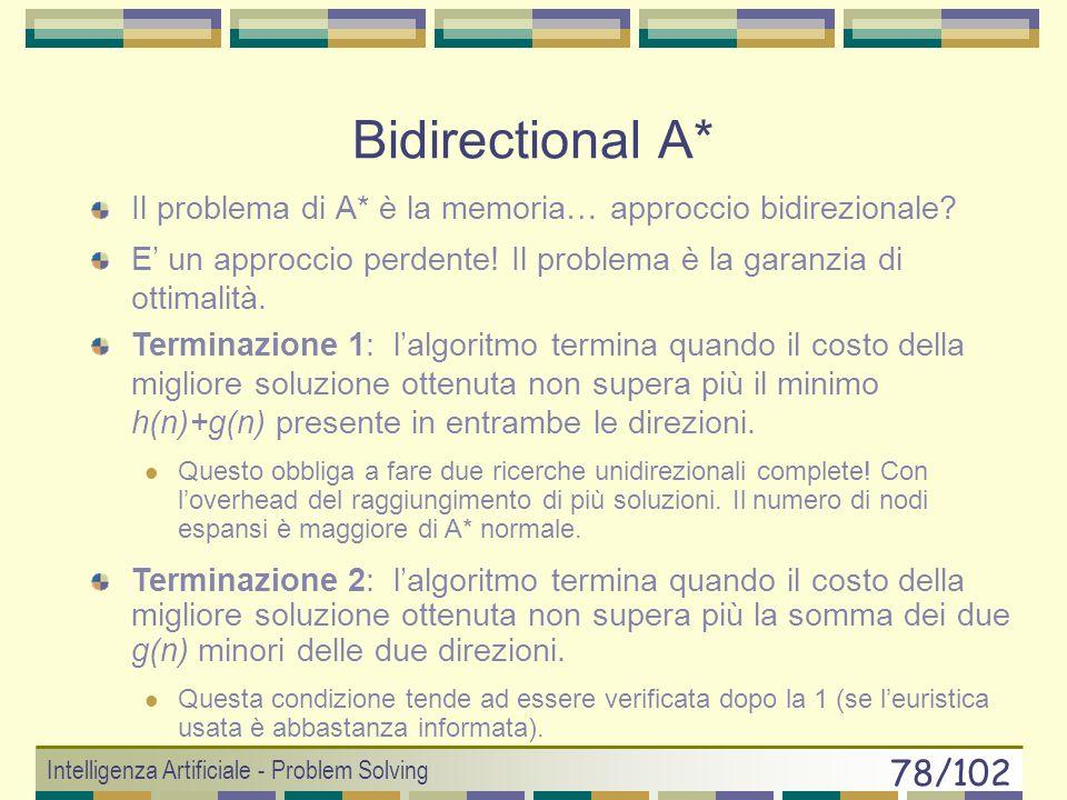 Bidirectional A* Il problema di A* è la memoria… approccio bidirezionale E' un approccio perdente! Il problema è la garanzia di ottimalità.