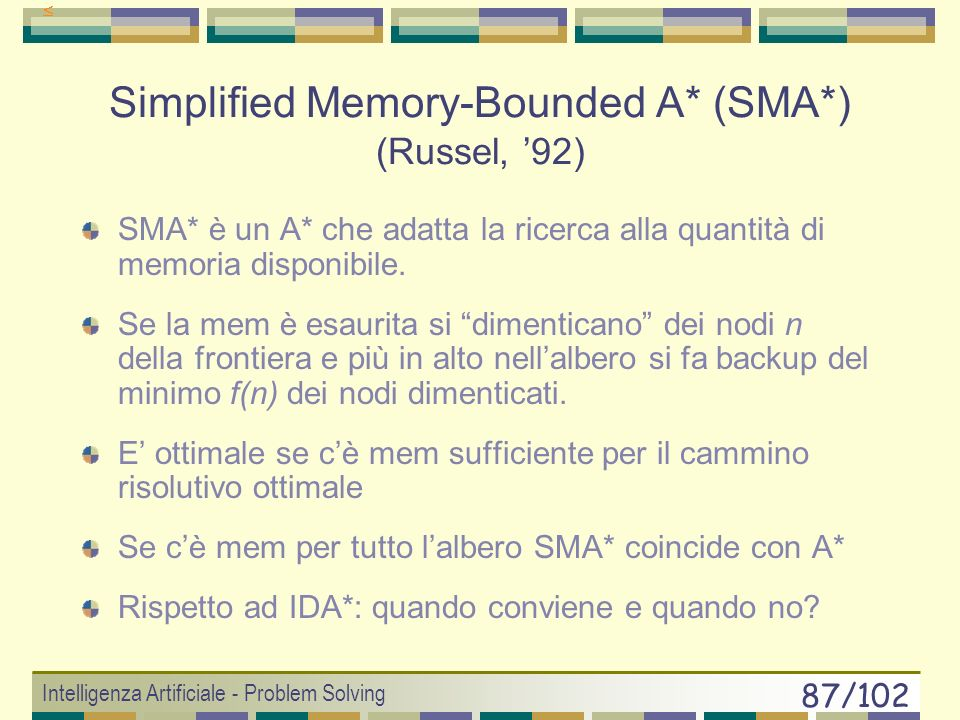 Simplified Memory-Bounded A* (SMA*) (Russel, '92)