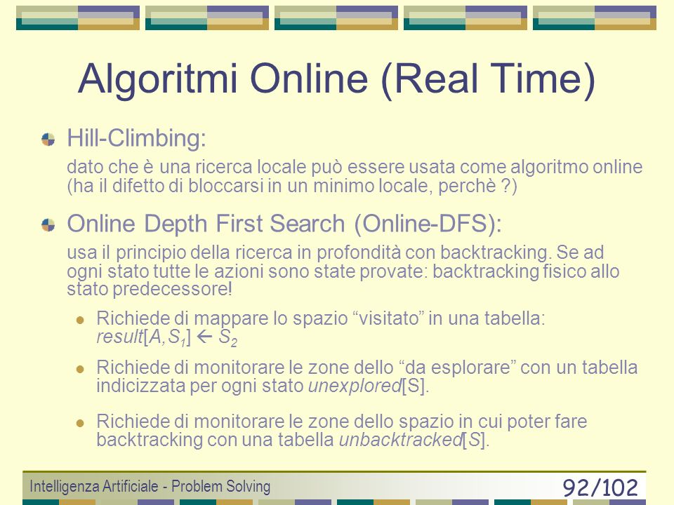 Algoritmi Online (Real Time)