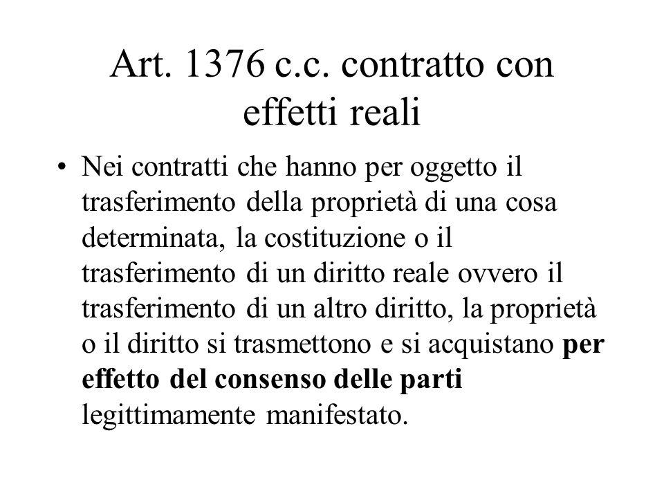 Art. 1376 c.c. contratto con effetti reali