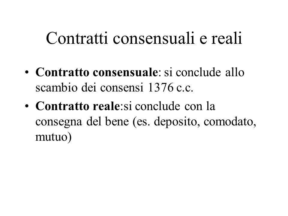Contratti consensuali e reali
