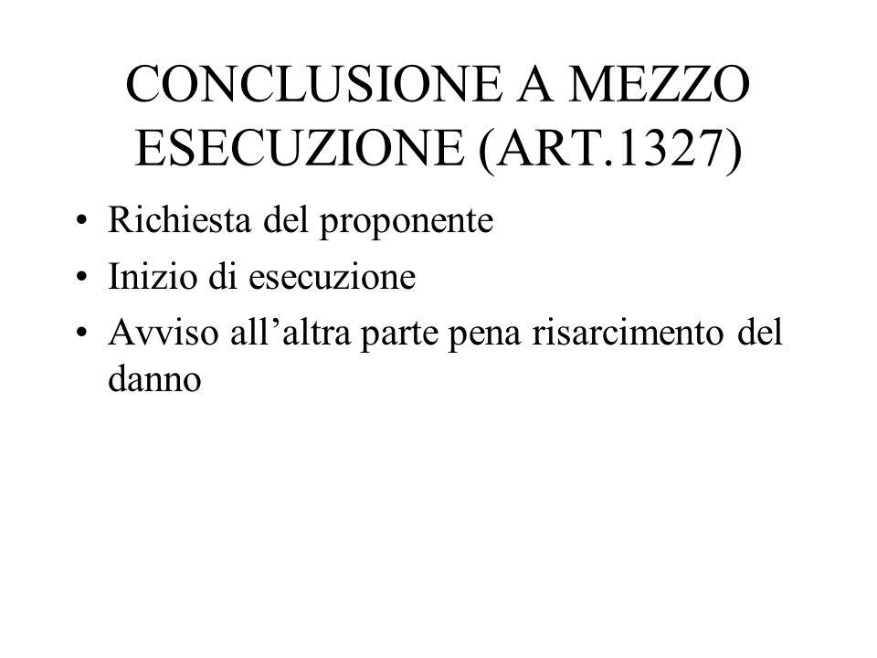 CONCLUSIONE A MEZZO ESECUZIONE (ART.1327)