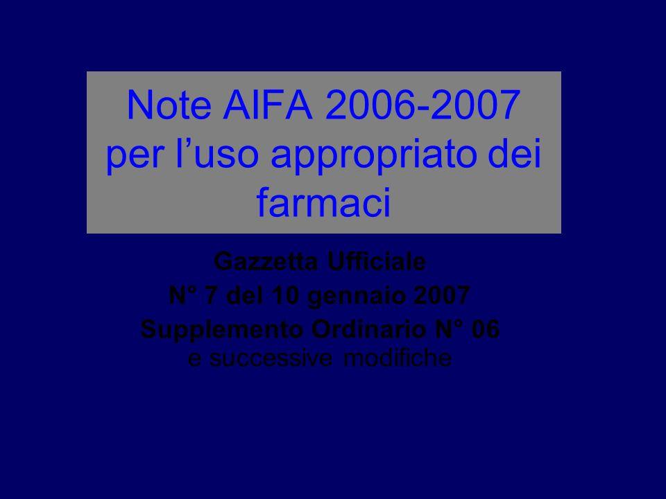 Note AIFA 2006-2007 per l'uso appropriato dei farmaci