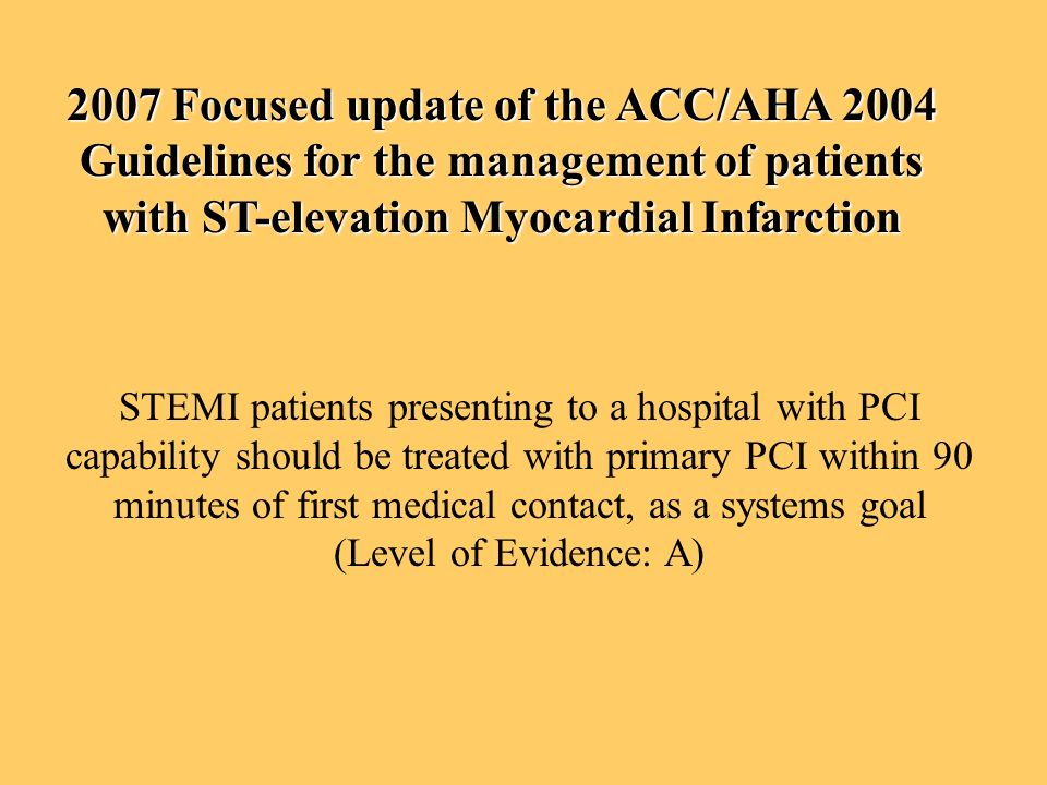 2007 Focused update of the ACC/AHA 2004 Guidelines for the management of patients with ST-elevation Myocardial Infarction