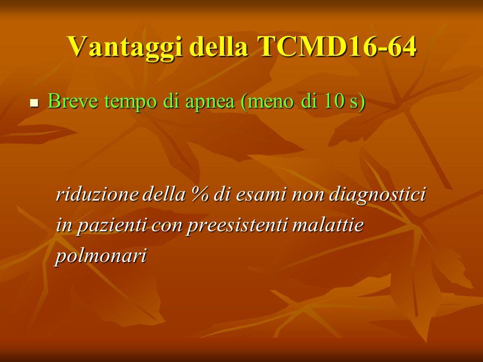 Vantaggi della TCMD16-64 Breve tempo di apnea (meno di 10 s)