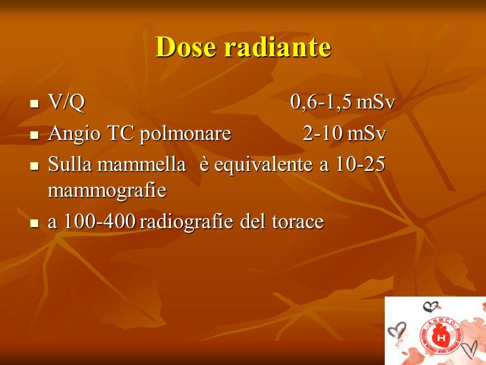Dose radiante V/Q 0,6-1,5 mSv Angio TC polmonare 2-10 mSv