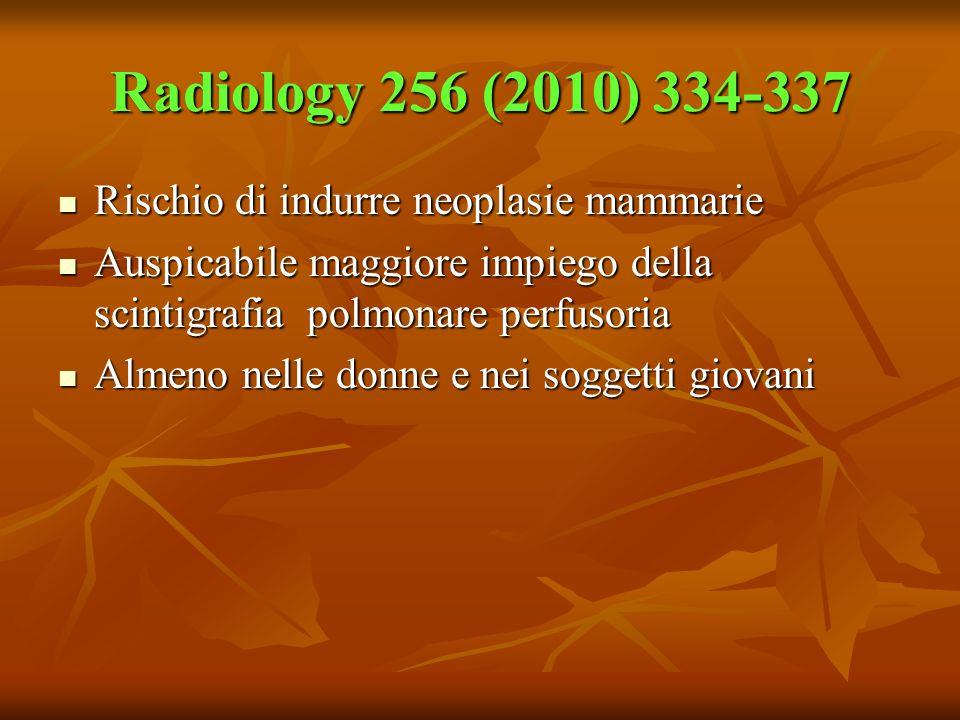 Radiology 256 (2010) 334-337 Rischio di indurre neoplasie mammarie