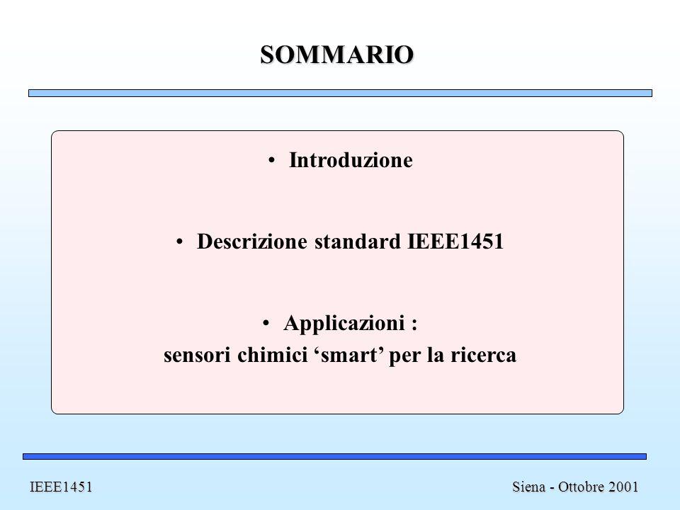 Descrizione standard IEEE1451 sensori chimici 'smart' per la ricerca