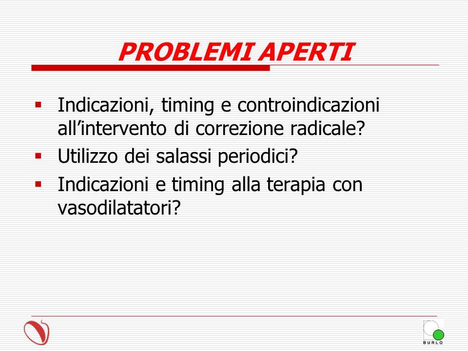 PROBLEMI APERTI Indicazioni, timing e controindicazioni all'intervento di correzione radicale Utilizzo dei salassi periodici