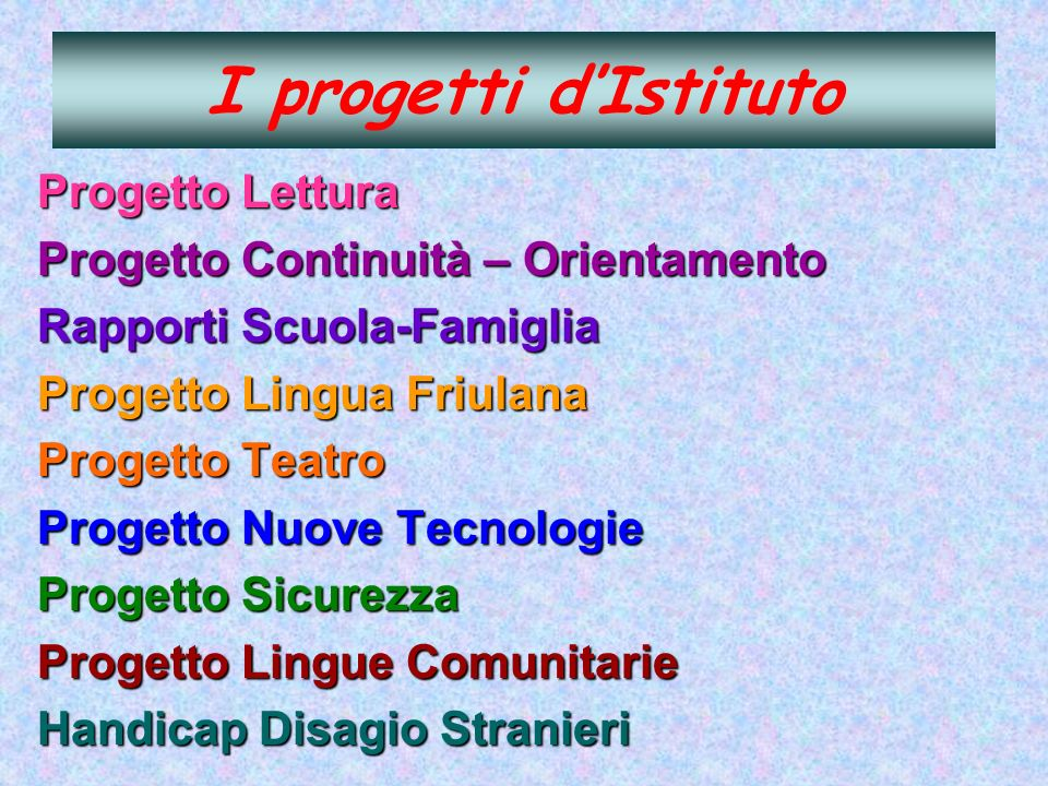 I progetti d'Istituto Progetto Lettura