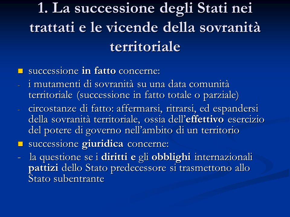 1. La successione degli Stati nei trattati e le vicende della sovranità territoriale
