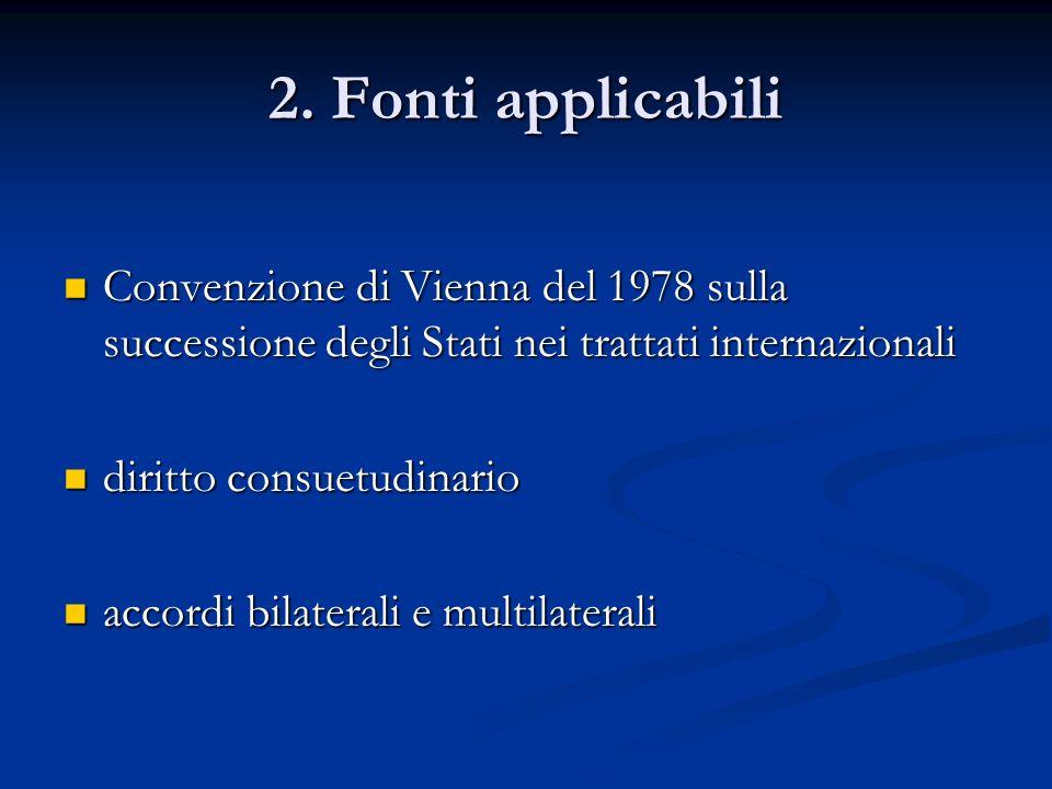 2. Fonti applicabili Convenzione di Vienna del 1978 sulla successione degli Stati nei trattati internazionali.