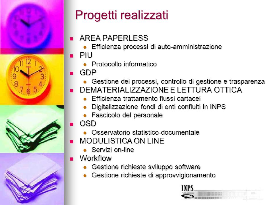 Progetti realizzati AREA PAPERLESS PIU GDP