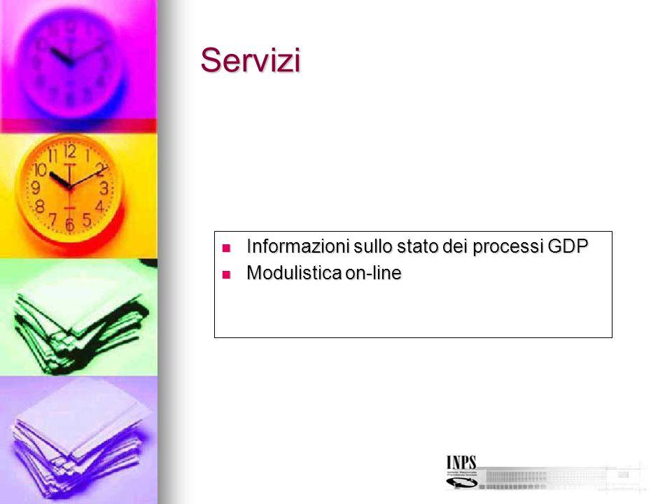 Servizi Informazioni sullo stato dei processi GDP Modulistica on-line