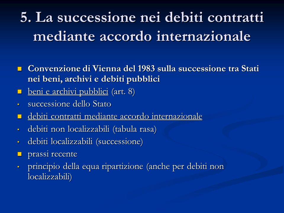 5. La successione nei debiti contratti mediante accordo internazionale