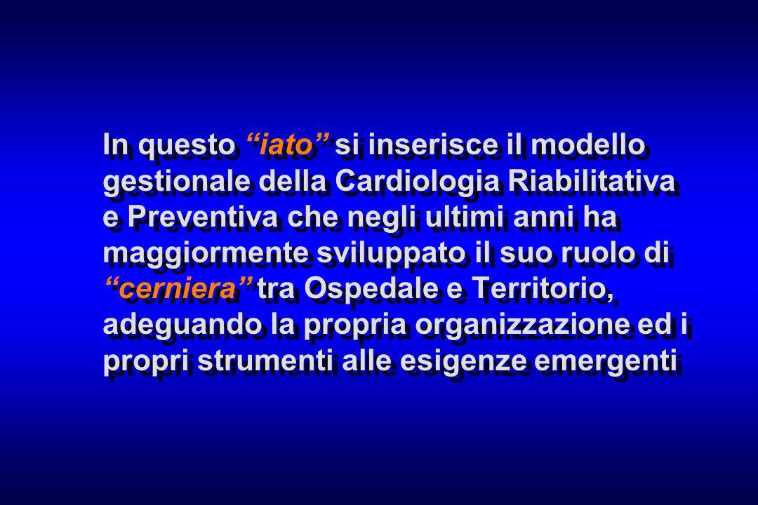 In questo iato si inserisce il modello gestionale della Cardiologia Riabilitativa e Preventiva che negli ultimi anni ha maggiormente sviluppato il suo ruolo di cerniera tra Ospedale e Territorio, adeguando la propria organizzazione ed i propri strumenti alle esigenze emergenti
