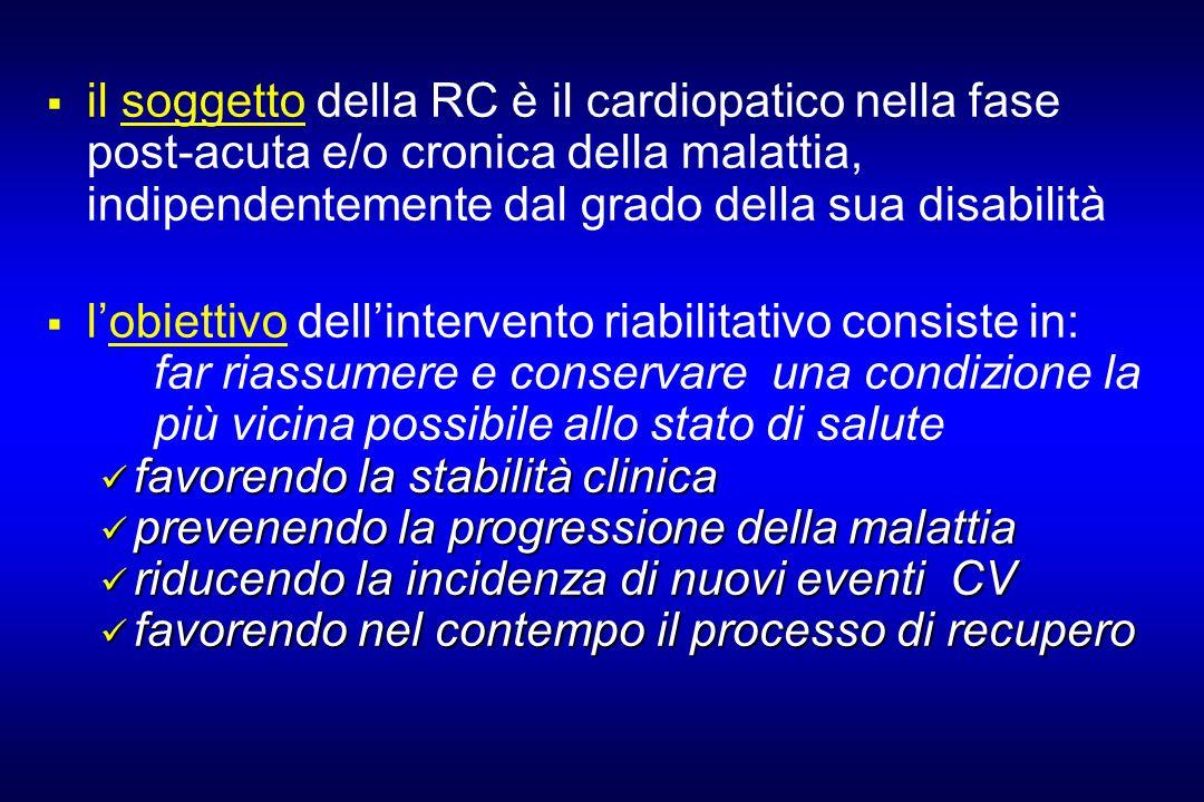 il soggetto della RC è il cardiopatico nella fase post-acuta e/o cronica della malattia, indipendentemente dal grado della sua disabilità