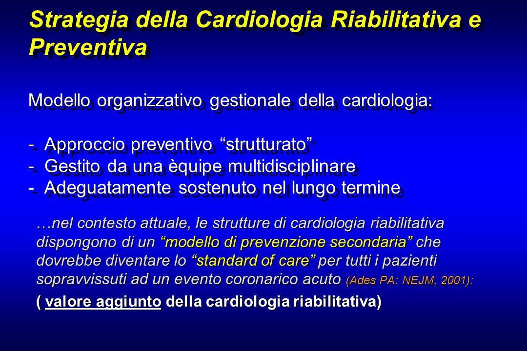 Strategia della Cardiologia Riabilitativa e Preventiva Modello organizzativo gestionale della cardiologia: - Approccio preventivo strutturato - Gestito da una èquipe multidisciplinare - Adeguatamente sostenuto nel lungo termine