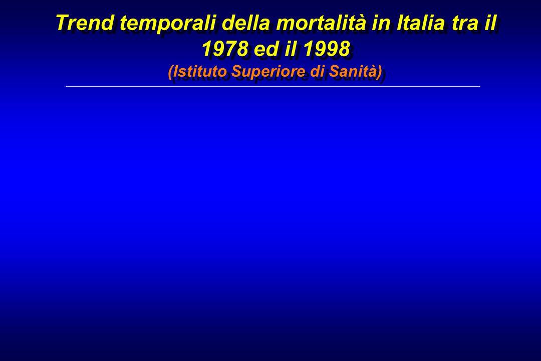 Trend temporali della mortalità in Italia tra il 1978 ed il 1998 (Istituto Superiore di Sanità)