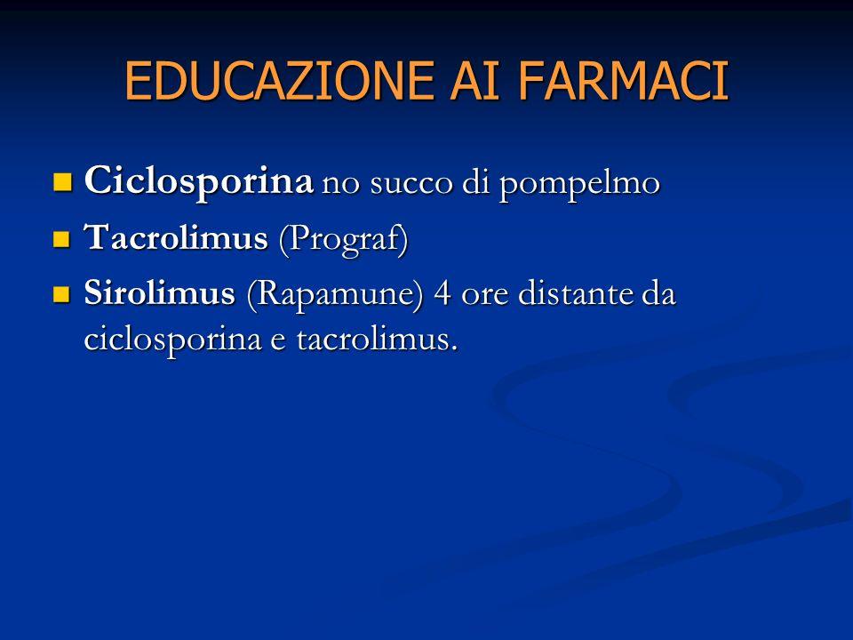 EDUCAZIONE AI FARMACI Ciclosporina no succo di pompelmo