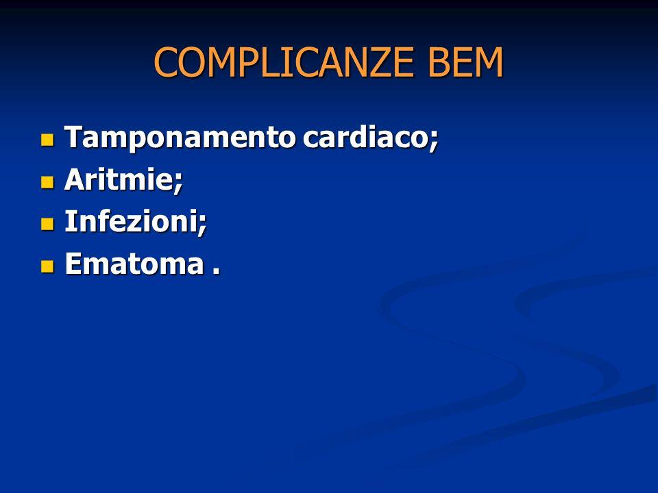 COMPLICANZE BEM Tamponamento cardiaco; Aritmie; Infezioni; Ematoma .