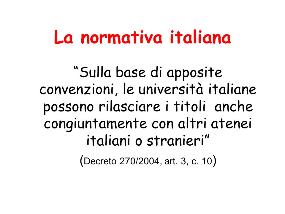 La normativa italiana