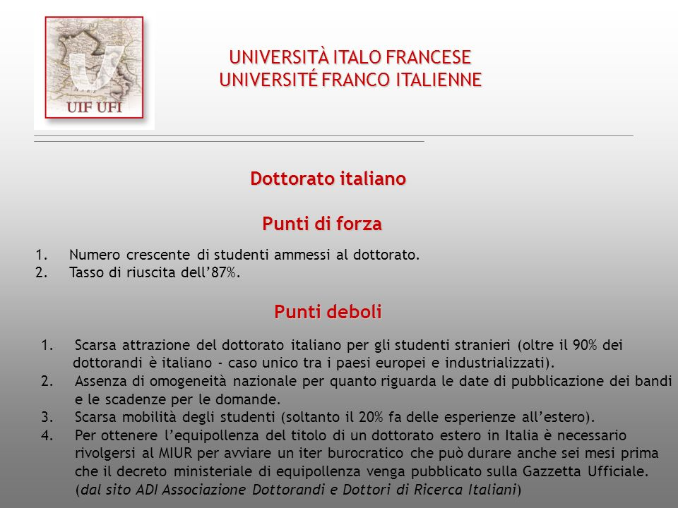 UNIVERSITÀ ITALO FRANCESE UNIVERSITÉ FRANCO ITALIENNE