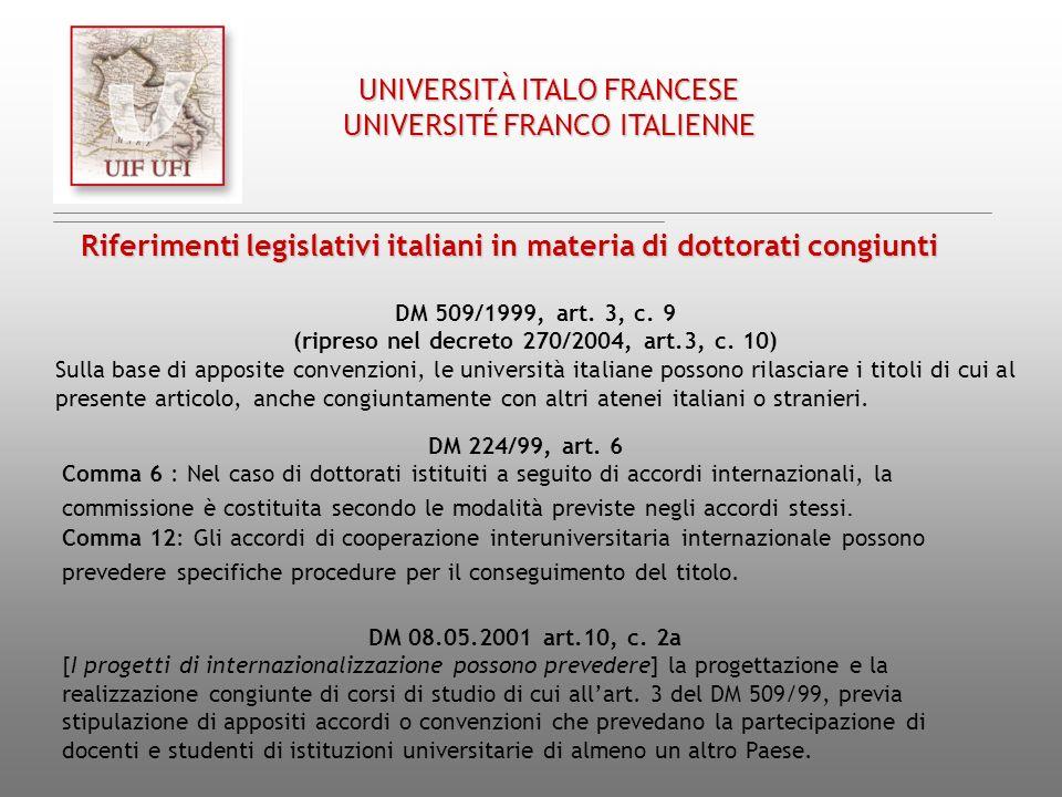 Riferimenti legislativi italiani in materia di dottorati congiunti