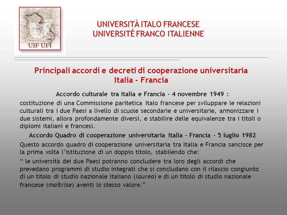 Accordo culturale tra Italia e Francia - 4 novembre 1949 :