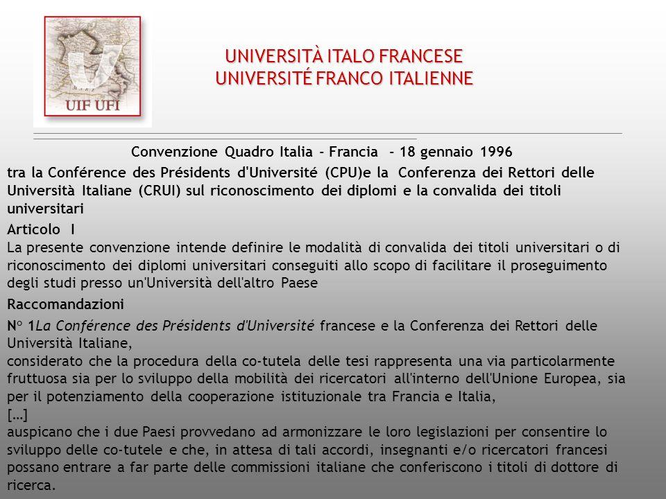Convenzione Quadro Italia - Francia - 18 gennaio 1996