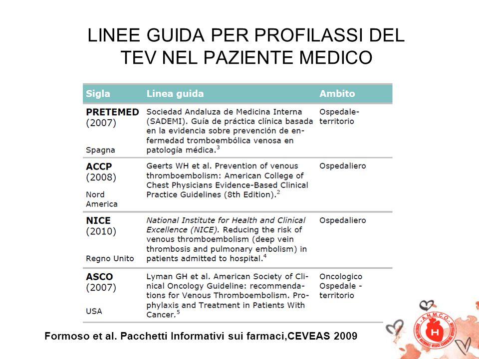LINEE GUIDA PER PROFILASSI DEL TEV NEL PAZIENTE MEDICO