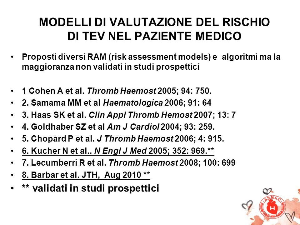 MODELLI DI VALUTAZIONE DEL RISCHIO DI TEV NEL PAZIENTE MEDICO